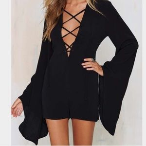 NWT Nasty Gal Black Lace Up Romper